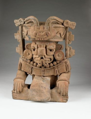 Urn Representing Cosijo, the God of Rain. Zapotec Culture, Mexico, about AD 450. Fired clay. 21 × 12 × 11 inches. Museum purchase, 1965.33.